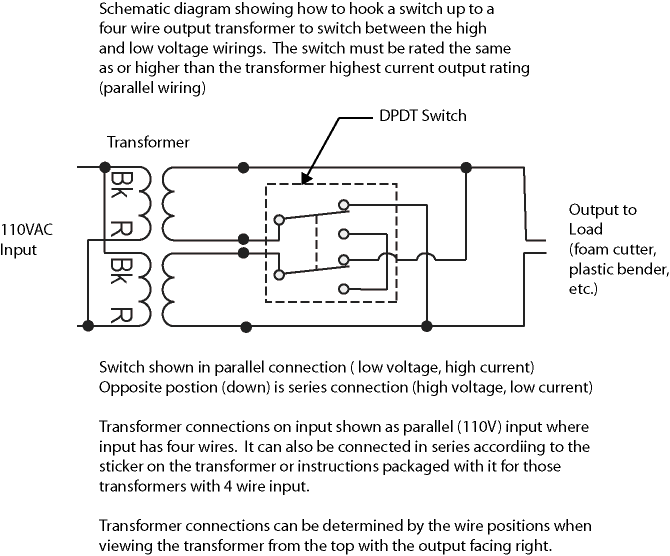 nichrome wire power supply design you can also add a dpdt switch to switch between the low and high voltage outputs for four wire output transformers here is the schematic for how to wire